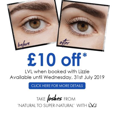 £10 off LVL with Lizzie Till the 31st July 2019